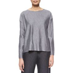 eskandar Long-Sleeve Bateau-Neck Top (€355) ❤ liked on Polyvore featuring tops, flannel, eskandar, loose fitting tops, boatneck top, relaxed fit tops and drop shoulder tops