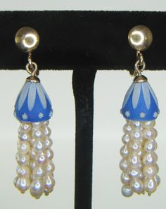 Blue Wedgwood and Pearl Earrings by JewelrybyCoralyn on Etsy