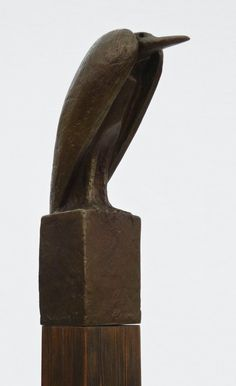 Philip McCracken (b.1928 WA) ''Heron'' 1977 Maquette Bronze Sculpture on Pedestal 18.75''x6''x6''. This maquette is for a public commission that stands in front of the Whatcom Museum in Bellingham. The piece is pictured in the book Iridescent Light on page 278 when it was in McCracken's home. From the estate of Pat Fleeson.