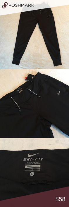 Nike Women's Thermal Running Pants NWT New with tags Nike Women's Thermal Running Pants. Perfect for cooler conditions, these pants are brushed with Dri-FIT thermal fabric to keep you warm and dry. Drop-in and zippered pockets will keep your items secure, and a relaxed hip-to-knee fit will enhance your range of motion while you're on the go. Stay comfortable while working on your fitness. Nike Pants Track Pants & Joggers