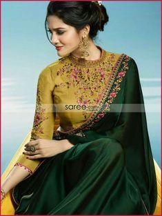 OMG Saree Blouse Choli, from Dark Green & Mustard Designer Embroidered Silk Party Wear Saree. Silk Saree Blouse Designs, Saree Blouse Patterns, Fancy Blouse Designs, Designer Blouse Patterns, Blouse Neck Designs, Lehenga Blouse, Saree Dress, Sari Bluse, Indische Sarees