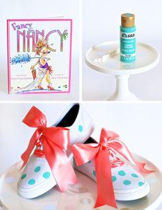 Make Fancy Nancy Shoes with PagingSupermom.com #polkadots #kidscraft