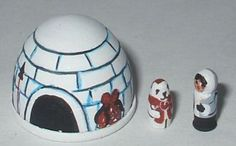 Painted Wood Igloo Toy by Heather Stringer - signed HS