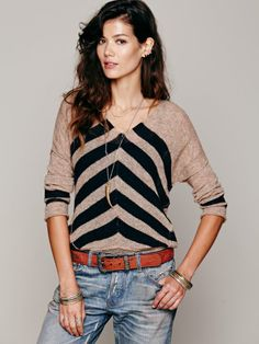 Free People Chevron Stripe Pullover