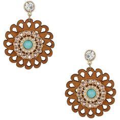 Miss Selfridge Wooden Flower Drop Earrings ($7) ❤ liked on Polyvore featuring jewelry, earrings, blue, drop earrings, wooden jewelry, flower earrings, blossom jewelry and flower jewelry