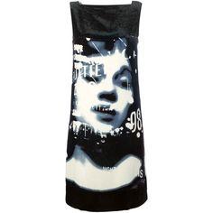 Jean Paul Gaultier Vintage La Culture Noire Et Sa Force Dress (£490) ❤ liked on Polyvore featuring dresses, black, vintage pattern dress, vintage sleeveless dress, print dress, vintage day dress and kohl dresses