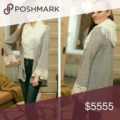 💘30% Off Bundles!💘Gray Lace Cuff Cardigan Gray Lace Cuff Cardigan. Stunning heathered gray cardigan with gorgeous detailed cream lace sleeves! Lighter weight cardigan. Quality fabric. Cardigan is 65% Acrylic 35% Polyester. Lace is 100% Polyester. Fit is TTS, in my opinion. You cannot go wrong with this neutral piece! Boutique  Sweaters Cardigans