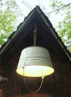 Bucket light to hang under deck