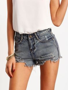 654a2ff436 SHEIN offers Blue Slim Ripped Fringe Denim Shorts   more to fit your  fashionable needs.