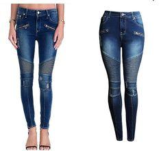 Women's Punk Stretch Slim Fit Ripped Denim Jeans