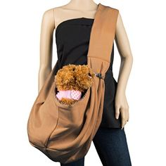 Cue Cue Pet's 100% Plush Cotton Reversible Pet Sling Carrier [Mocha Brown] Suitable for Small to Medium Sized Dogs, Cats, Rabbits, Pet's ** You can find more details by visiting the image link.
