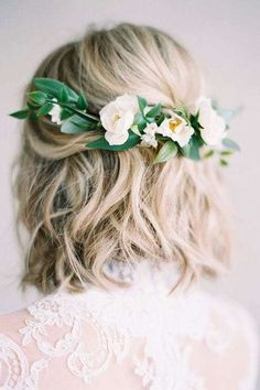 These Are The Most Stunning Short Hairstyles for Your Wedding Day: Half-Up Pinned with Flowers
