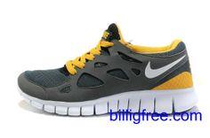 Verkaufen billig Herren Nike Free Run 2 Schuhe (Farbe:vamp-grau,innen-gelb,Logo,Sohle-weiB) Online in Deutschland.