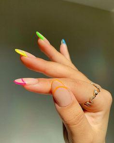 Bright Nail Art, Bright Nail Designs, Gel Nail Designs, Colorful Nails, Cute Acrylic Nails, Cute Nails, Hippie Nails, Les Nails, Nailart