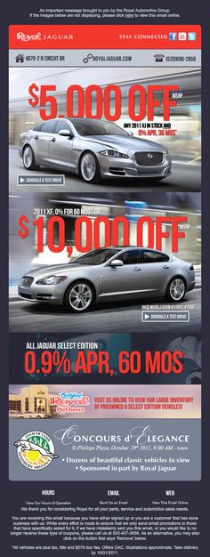Automotive Email Marketing Campaign Blast for Jaguar End of Year Sales