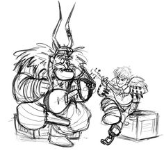 """(credit to artist) Gobber teaching Hiccup his song. """"I've got my ax and I've got my mace..."""""""