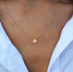 14kt gold petite Starburst necklace