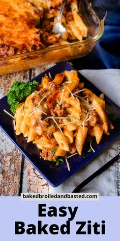 This Easy Baked Ziti is a cinch to throw together. It is creamy and full of flavor. Served with garlic bread and a green salad this is the perfect meal for any ocassion. Meat Recipes, Pasta Recipes, Easy Baked Ziti, Pasta Al Dente, 9x13 Baking Dish, Recipe For Mom, Garlic Bread, Creative Food, Family Meals