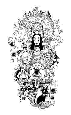 Tatuaje Studio Ghibli, Art Studio Ghibli, Studio Ghibli Tattoo, Studio Ghibli Movies, Art Anime, Anime Kunst, Animes Wallpapers, Cute Wallpapers, Spirited Away Tattoo