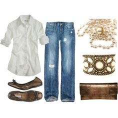 Nothing like jeans, a white shirt and some pearls! Love the cuff bracelet too