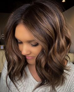 Brown Hair Balayage, Brown Hair With Highlights, Long Bob With Balayage, Brunette Balayage Hair Short, Short Brunette Hair, Honey Balayage, Peekaboo Highlights, Purple Highlights, Hair Color And Cut