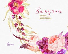 Sangria. Burgundy and gold floral Wreaths and Bouquets