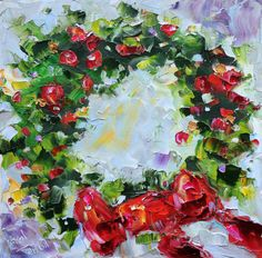 Original oil painting Holiday Christmas Wreath by Karensfineart