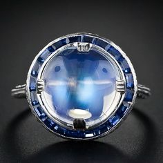 Vintage Moonstone, Sapphire and Platinum Ring by AislingH it's beautiful