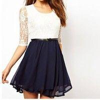 Chiffon Dress with Lace Insert