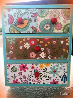 Vintage Chic Mini Dresser Drawers Teal and Pattern by GrubbyChic