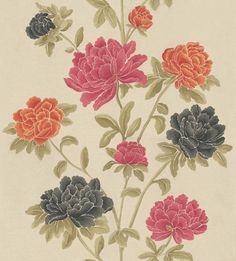 Miya (30513) - Harlequin Wallpapers - A vertical floral trail design with stylised camellia blooms in stunning orange, charcoal and rose pink on a gold mica background.
