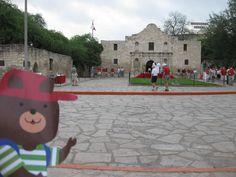 Barney Bear visits The Alamo in San Antonio, Texas!