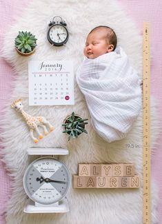 A creative newborn photo for birth announcement.