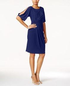Connected Split-Sleeve Faux-Wrap Dress - Blue 12