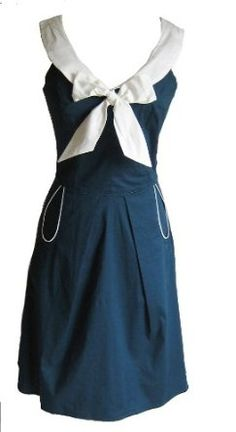 Steady Clothing 50's Vintage White Bow Weekend Sailor Dress