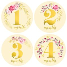 Baby Girl Monthly Milestone Stickers - Girl Month Stickers - Floral Gold Watercolor Bouquet- 1 to 12 Months - Milestone - Flowers 12 Month Milestones, Baby Monthly Milestones, Monthly Baby, Boy Baby Shower Themes, Baby Shower Balloons, Baby Shower Gifts, Funny Gifts For Dad, Gifts For Girls, Gold Watercolor