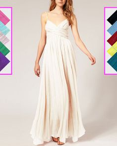 Empire Waist White Maxi Dress with Spaghetti Straps - White Evening Dress (Available in 57 colours)