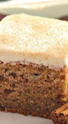 A delicious spiced zucchini cake topped with thick cream cheese frosting. Check … A delicious spiced zucchini cake topped with thick cream cheese frosting. Check out! Just Desserts, Delicious Desserts, Yummy Food, Tasty, Cheesecake Recipes, Dessert Recipes, Frosting Recipes, Zuchinni Recipes, Zucchini Desserts