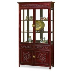 40in Flower and Bird Motif Rosewood China Cabinet - Cherry