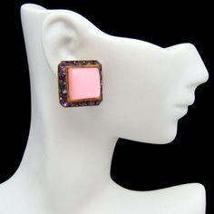 Mid Century Pink Thermoset Purple Rhinestones Vintage Earrings 60s Glamorous Clips #MyClassicJewelry