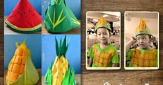 Craftventure Time: DIY Fruit and Veggies Hats from Paper Boat Part I Paper Hat Diy, Paper Crafts, Fruit Costumes, Diy Costumes, Costume Ideas, Nutrition Month Costume, Vegetable Costumes, Diy For Kids, Crafts For Kids