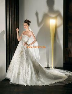 Cola Capilla Escote Corazón Apliques Vestidos de novias 2013