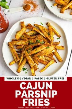 Cajun parsnip oven baked fries are the best snack or side dish for dinner! This simple recipe is ready in about 30 minutes and the perfect way to get in more veggies! Vegan, gluten free, low carb, paleo, and low FODMAP. Oven Baked Fries, Fries In The Oven, Healthy Eating Recipes, Paleo Recipes, Healthy Junk, Paleo Meals, Healthy Appetizers, Healthy Meals, Healthy Food