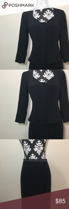 Max Mara Black Pencil Skirt Suit Button Close Sz 6 Max Mara. Pencil skirt suit. Tailored black button front blazer. Fully lined. Knee length skirt. Measurements:  Size: 6 Jacket Chest/Bust (armpit to armpit, laying flat): 18 inches  Length (shoulder to bottom hem): 22 inches  Skirt Waist (flat): 14 inches  Hips (flat): 18 inches  Length: 24 inches Max Mara Dresses