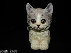 Danbury Mint Cat PEPPER ~ Grey & White Kitten Glass Eyes 1988 VHTF!! Retired                                        1                                1