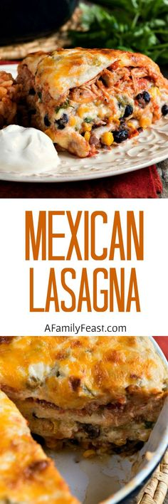 Mexican Lasagna with White Sauce - A delicious and creamy lasagna filled cheese, beans, corn and chicken in a zesty cream sauce.