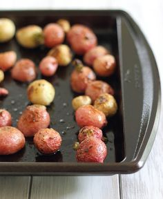 Salted Rosemary Roasted Radishes by runningtothekitchen: A crispy roasted radish side dish that will have you fooled into thinking they're potatoes. #Radishes #Rosemary