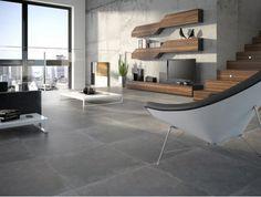 Des dalles XXL façon béton ciré du plus bel effet. Carrelage Loussiana Grafito. 60 x 60 cm. 50,47 €/m². Metropol chez Tile of Spain