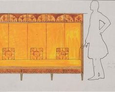 Draft drawings for the breakfast room of the apartment Eisler Terramare, proportion of study seat - Koloman Moser