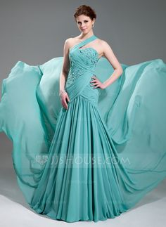 Evening Dresses - $162.99 - A-Line/Princess One-Shoulder Court Train Chiffon Evening Dress With Ruffle Beading Appliques (017019733) http://jjshouse.com/A-Line-Princess-One-Shoulder-Court-Train-Chiffon-Evening-Dress-With-Ruffle-Beading-Appliques-017019733-g19733